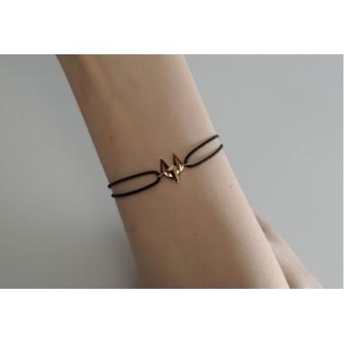 Bracelet Renard Or rose sur cordon
