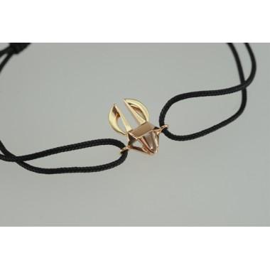 Bracelet Lièvre Or rose sur cordon