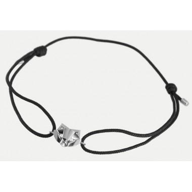 Bracelet  Or Gris cordon Chat