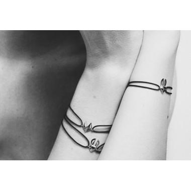 Bracelet Or Gris cordon Renard